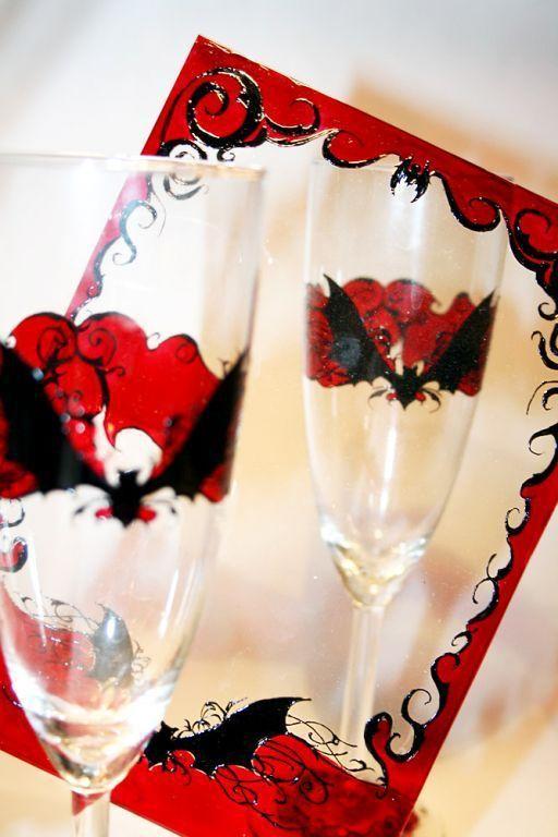 """Бокалы, стаканы ручной работы. Ярмарка Мастеров - ручная работа. Купить Набор """"Ноктюрн"""": два бокала и фоторамка. Handmade. Готика"""