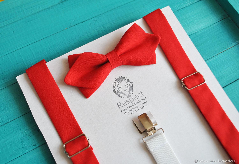 Красный комплект бабочка и подтяжки на свадьбу, отличный выбор для жениха!