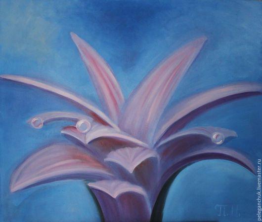 """Картины цветов ручной работы. Ярмарка Мастеров - ручная работа. Купить Картина масло  холст  цветы букет """"Фиолетовый цветок"""". Handmade."""
