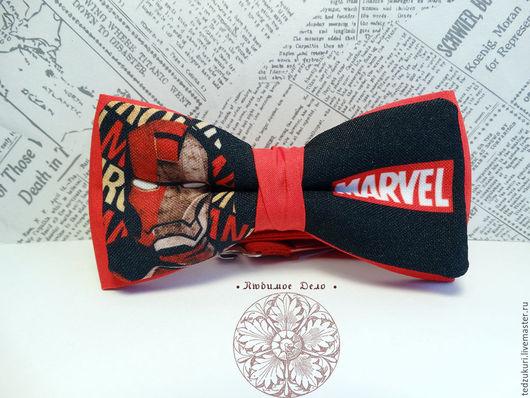 Галстуки, бабочки ручной работы. Ярмарка Мастеров - ручная работа. Купить Галстук-бабочка Железный человек/ Marvel/ Iron Man / супергерой/ Тони. Handmade.