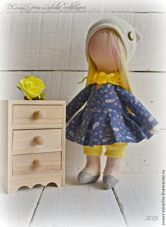 Коллекционные куклы ручной работы. Ярмарка Мастеров - ручная работа. Купить я Кукла-малыш -,,платье в огурцах,,. Handmade. Лимонный