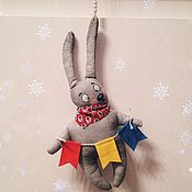 Мягкие игрушки ручной работы. Ярмарка Мастеров - ручная работа Елочная игрушка Винтажный зайчик. Новый год. Handmade.