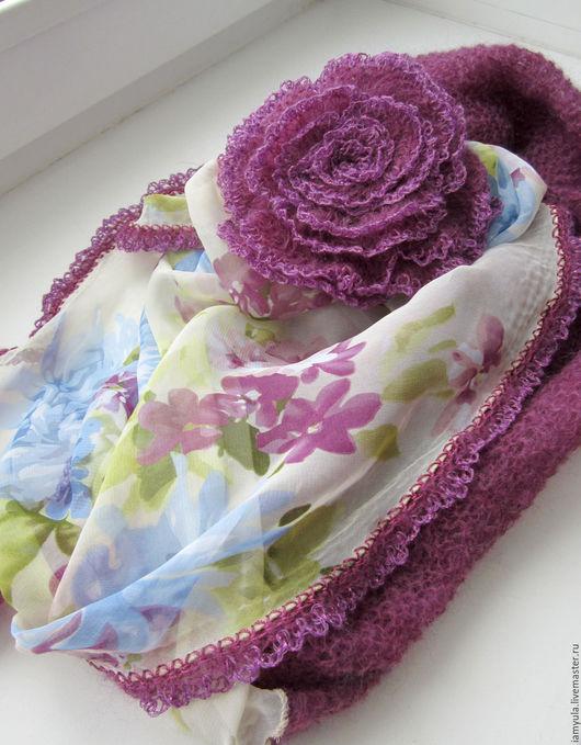 """Шарфы и шарфики ручной работы. Ярмарка Мастеров - ручная работа. Купить """"Вечер""""  шарф-снуд из шифона и кид-мохера. Брошь-роза. Handmade."""