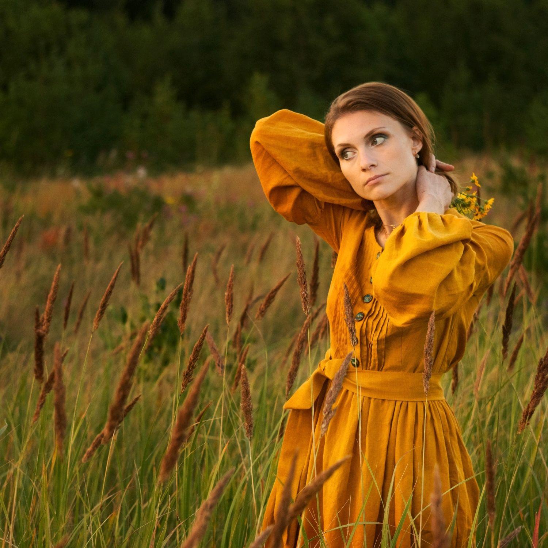 Льняное платье Пижма, Платья, Минусинск,  Фото №1