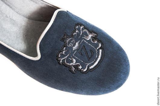 Обувь ручной работы. Ярмарка Мастеров - ручная работа. Купить Лоферы замшевые с вышивкой Blue. Handmade. Тёмно-синий