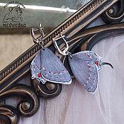 Украшения handmade. Livemaster - original item Grey Hairstreak leather butterfly earrings. Handmade.
