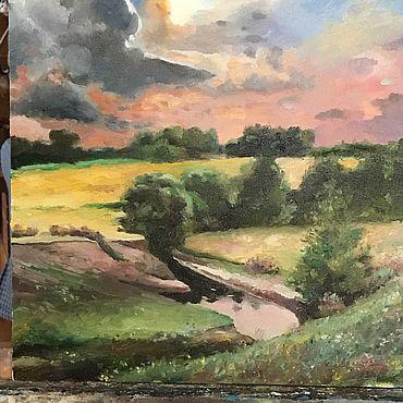 """Картины и панно ручной работы. Ярмарка Мастеров - ручная работа Картина маслом на холсте """"Перед дождём"""". Handmade."""