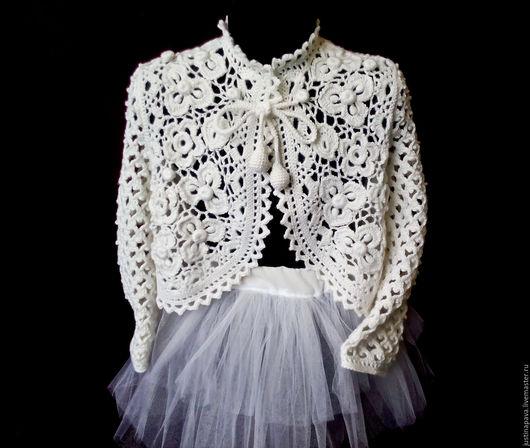 Одежда для девочек, ручной работы. Ярмарка Мастеров - ручная работа. Купить Болеро для девочки. Handmade. Белый, пряжа для вязания