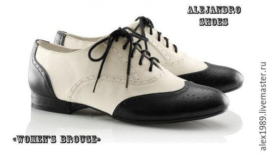 """Обувь ручной работы. Ярмарка Мастеров - ручная работа. Купить Женские броуги """"Women's"""". Handmade. Чёрно-белый, женские броуги"""