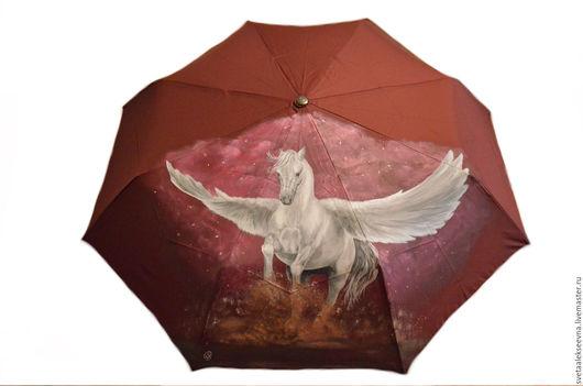 """Зонты ручной работы. Ярмарка Мастеров - ручная работа. Купить Зонт с ручной росписью  """"Пегас"""". Handmade. Бордовый, зонт с росписью"""