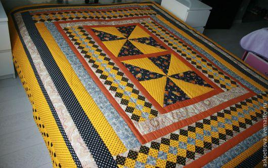"""Текстиль, ковры ручной работы. Ярмарка Мастеров - ручная работа. Купить Одеяло-покрывало пэчворк """"Осень"""". Handmade. Желтый, для девушки"""