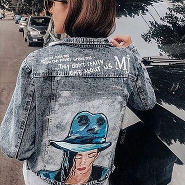 """Одежда ручной работы. Ярмарка Мастеров - ручная работа Джинсовая куртка с индивидуальной росписью """"Michael Jackson"""". Handmade."""