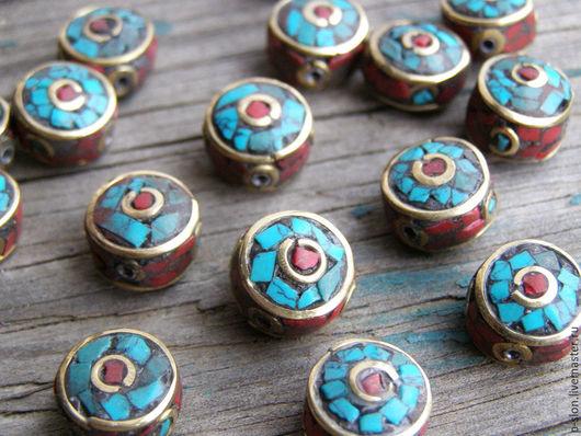 Для украшений ручной работы. Ярмарка Мастеров - ручная работа. Купить Этнические бусины с бирюзой и кораллом, Непал БН34. Handmade.