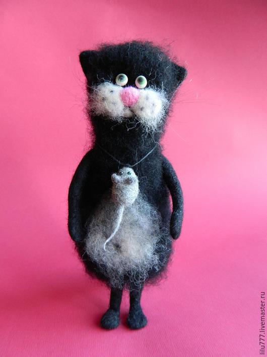 Игрушки животные, ручной работы. Ярмарка Мастеров - ручная работа. Купить Черный кот валяный. Handmade. Черный, кот валяный