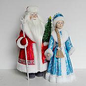 Дед Мороз и Снегурочка ручной работы. Ярмарка Мастеров - ручная работа Куклы Дед Мороз в ушанке и Снегурочка. Handmade.