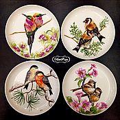 Посуда handmade. Livemaster - original item Painted porcelain. Plates on the wall bullfinches, hummingbirds, sparrows, goldfinches. Handmade.