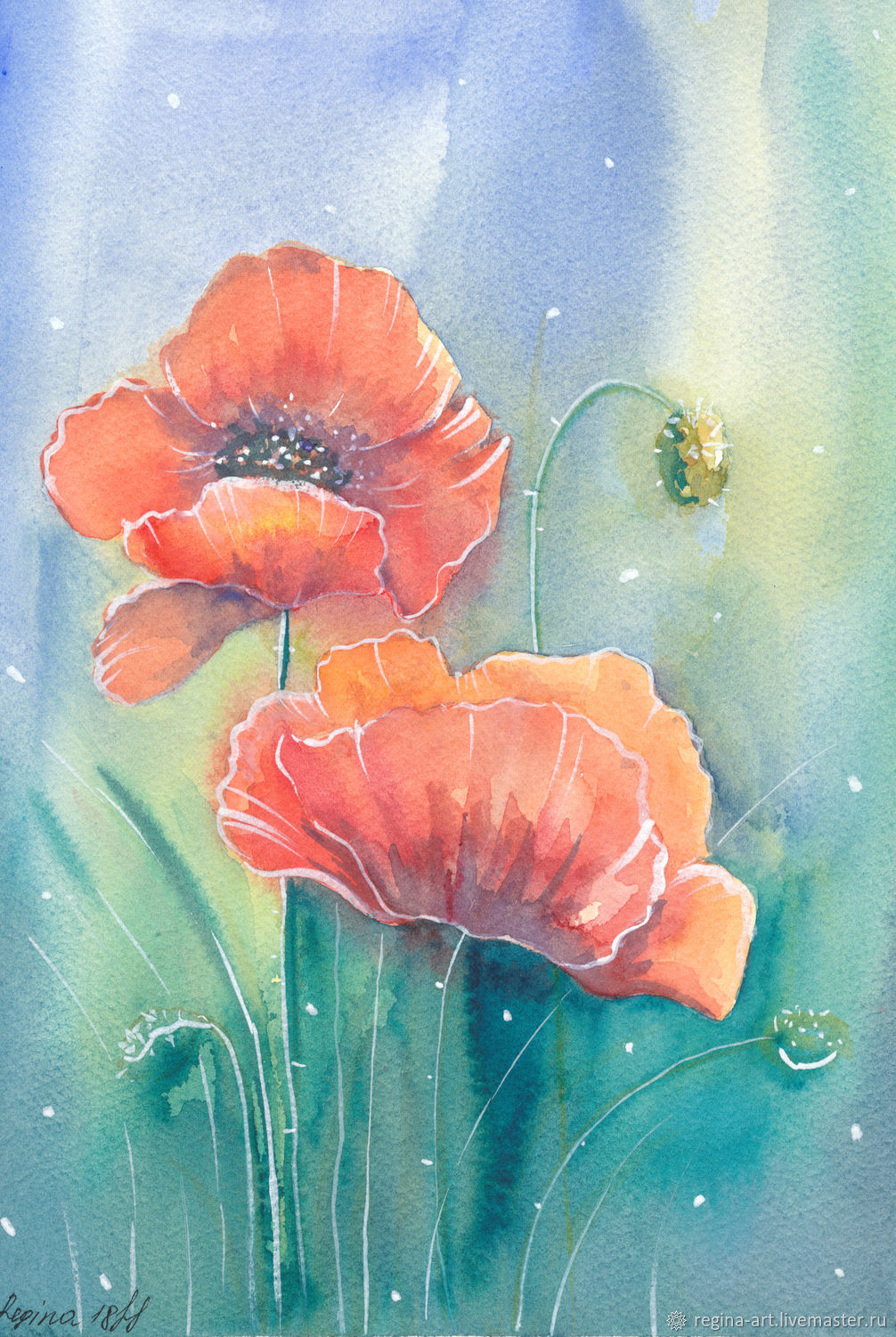 Watercolor painting ' Scarlet Poppies', Pictures, Kemerovo,  Фото №1