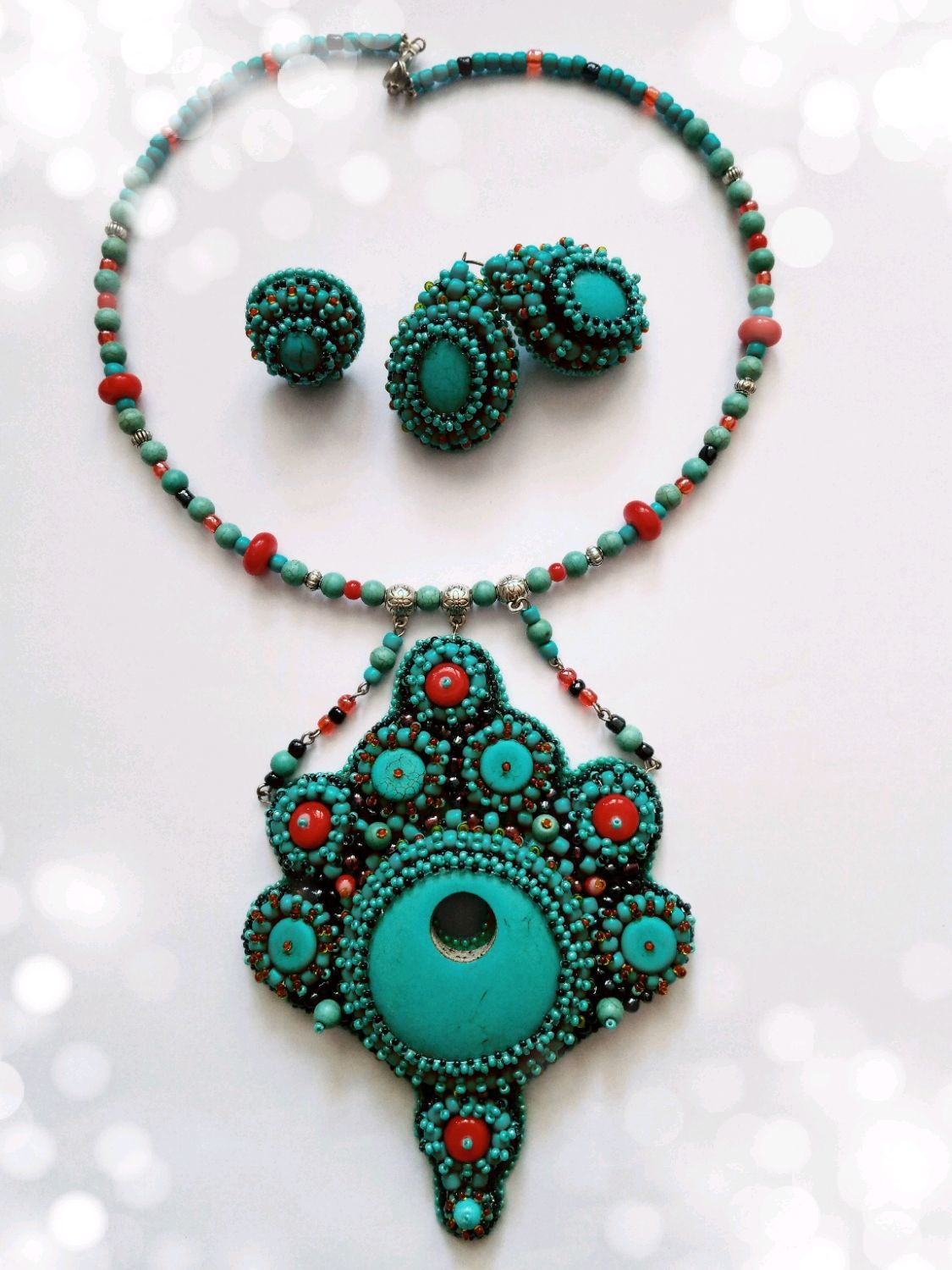 Set embroidered with turquoise ' Soul of the Maharaja', Jewelry Sets, Voskresensk,  Фото №1