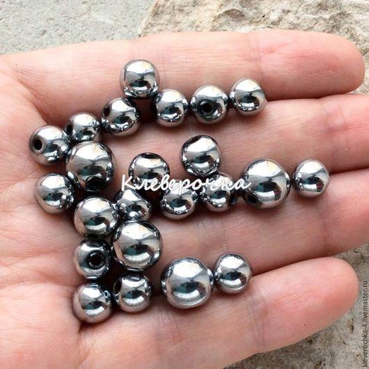 Для украшений ручной работы. Ярмарка Мастеров - ручная работа. Купить Гематит 8,10 мм серебро шар гладкий бусины камни. Handmade.