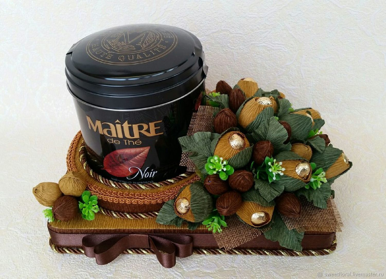 Чайно-конфетная композиция в подарок, Букеты, Пушкино, Фото №1