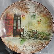 Тарелки ручной работы. Ярмарка Мастеров - ручная работа Тарелки: Велосипед 2 Декоративная тарелка. Handmade.