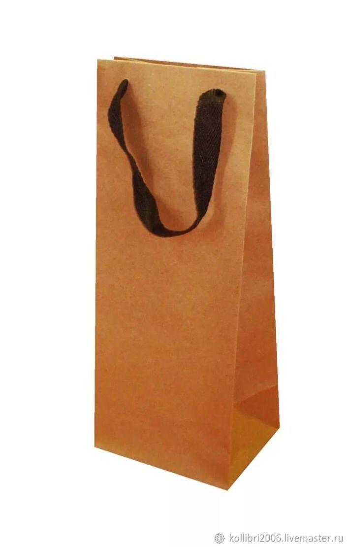Упаковка ручной работы. Ярмарка Мастеров - ручная работа. Купить Пакет крафт 14x11x35см подарочный для вина. Handmade. Дизайн, пакетики