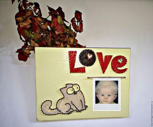 Фоторамки ручной работы. Ярмарка Мастеров - ручная работа. Купить Фоторамка Love & cat в технике string atr. Handmade.
