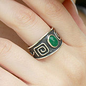 Украшения handmade. Livemaster - original item 925 sterling silver ring with ethnic pattern and jade. Handmade.