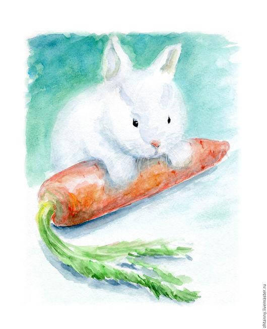 """Животные ручной работы. Ярмарка Мастеров - ручная работа. Купить Акварель """"Белый кролик"""". Handmade. Бирюзовый, зеленый, оранжевый, кролик"""