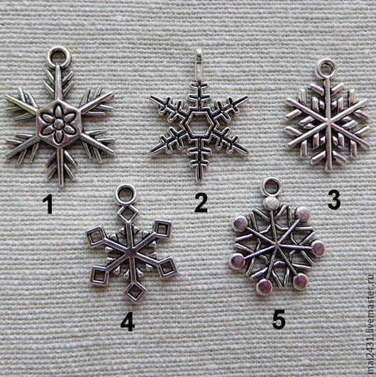 Подвеска новогодняя снежинки, античное серебро