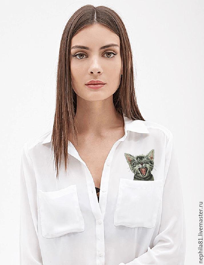 Блузки ручной работы. Ярмарка Мастеров - ручная работа. Купить Машинная вышивка по мотивам работы Хироко Куботы. Handmade. Кот
