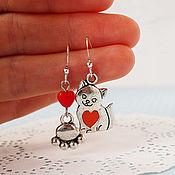 Украшения handmade. Livemaster - original item Asymmetrical earrings with cat. Handmade.