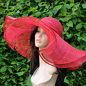 Аксессуары handmade. Livemaster - original item Red summer hat. Handmade.