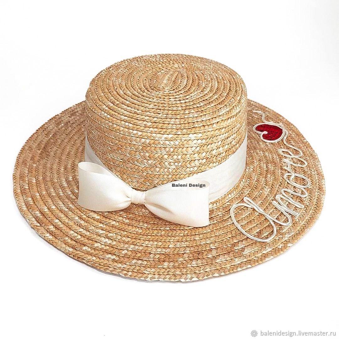 Шляпы ручной работы. Ярмарка Мастеров - ручная работа. Купить Соломенная Шляпа канотье. Handmade. Шляпы, шляпа из соломы