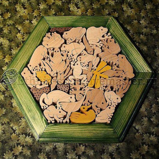 Развивающие игрушки ручной работы. Ярмарка Мастеров - ручная работа. Купить Царство лягушек (настольная головоломка). Handmade. Тёмно-зелёный
