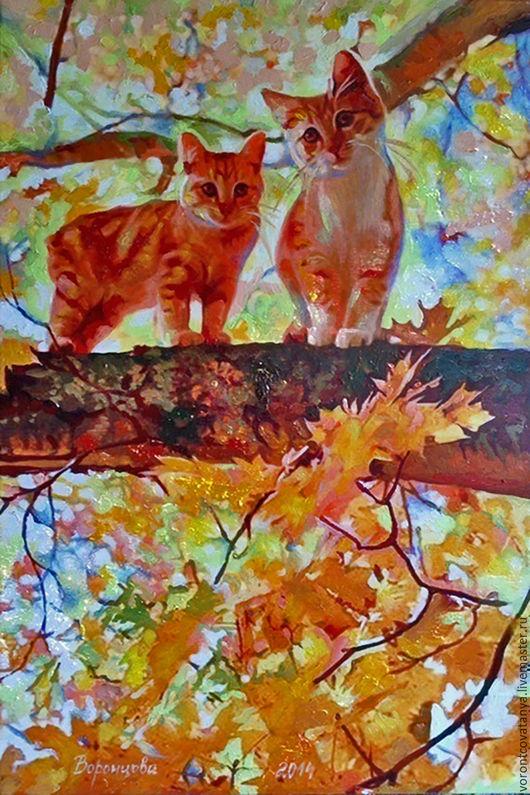 """Животные ручной работы. Ярмарка Мастеров - ручная работа. Купить """"Золотые коты"""".. Handmade. Оранжевый, картина в подарок, картина на холсте"""