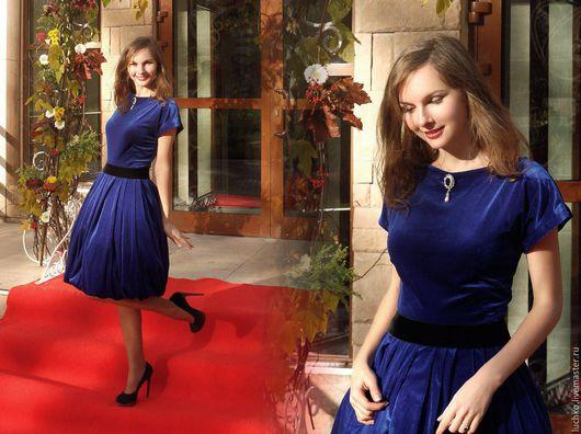 Платья ручной работы. Ярмарка Мастеров - ручная работа. Купить Синее бархатное платье. Handmade. Тёмно-синий, Платье нарядное