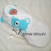 """Работы для детей, ручной работы. Ярмарка Мастеров - ручная работа Конверт-кокон для новорожденного """"Мишка Молочный с Бирюзой"""". Handmade."""
