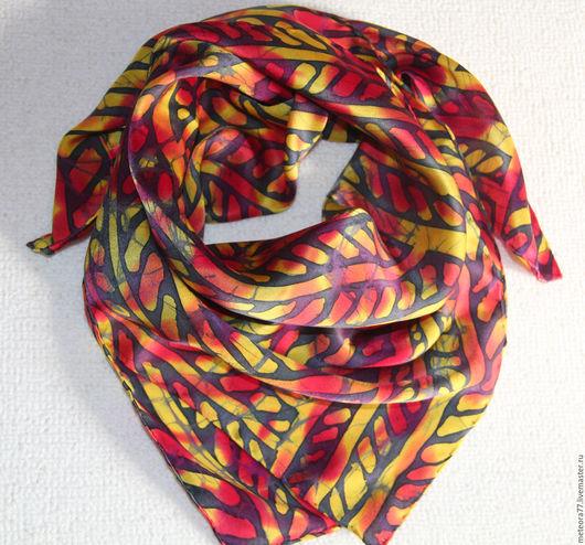 """Шали, палантины ручной работы. Ярмарка Мастеров - ручная работа. Купить Шейный платок """"Красно-черный"""". Handmade. Ярко-красный"""