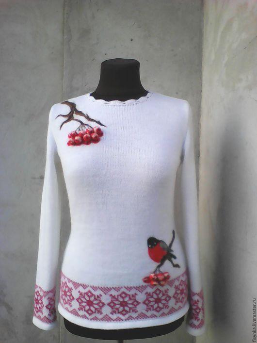 Кофты и свитера ручной работы. Ярмарка Мастеров - ручная работа. Купить свитерок вязаный шерсть с мохером. Handmade. Белый