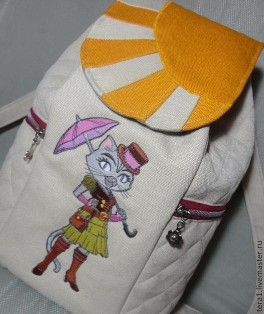 Рюкзаки ручной работы. Ярмарка Мастеров - ручная работа. Купить Рюкзак текстильный Цаца. Handmade. Белый, рюкзак для девушки, модный