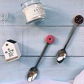 Ложки ручной работы. Ярмарка Мастеров - ручная работа Ложка с декором из полимерной глины. Handmade.