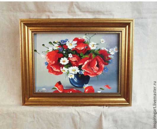 Картины цветов ручной работы. Ярмарка Мастеров - ручная работа. Купить Картина маслом в раме Букет цветов Маки холст масло картины цветов. Handmade.