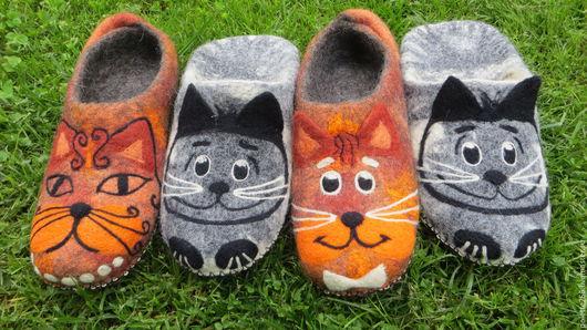 Обувь ручной работы. Ярмарка Мастеров - ручная работа. Купить Тапочки Кошки. Handmade. Рыжий, черный, валяная обувь