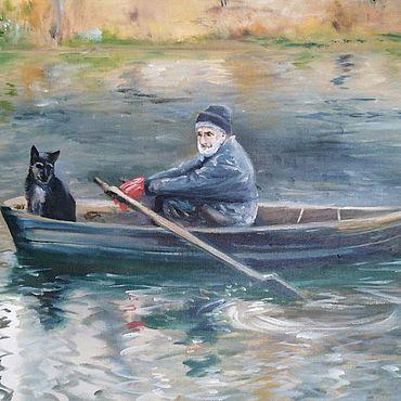 Картины и панно ручной работы. Ярмарка Мастеров - ручная работа Двое в лодке. Handmade.