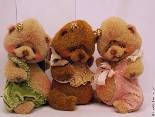 Мишки Тедди ручной работы. Ярмарка Мастеров - ручная работа. Купить Три толстячка). Handmade. Разноцветный, пушистый, королева