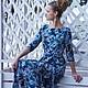 длинное трикотажное цветочное платье