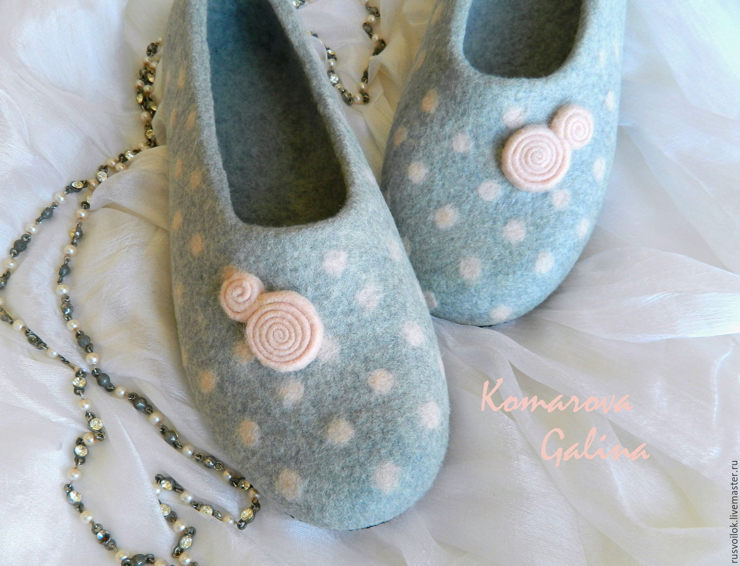 women's felted Slippers `Touch`