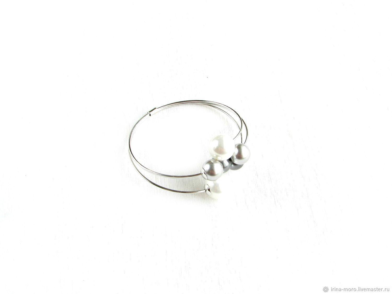 Evening silver bracelet 'Radiance' bracelet with pearls, Hard bracelet, Moscow,  Фото №1