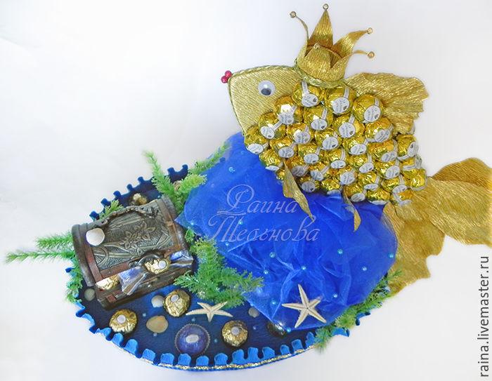 a683b6e940b Купить Букет из конфет Рыбка золотая · Букеты ручной работы. Букет из  конфет Рыбка золотая. Букет из конфет. Раина.